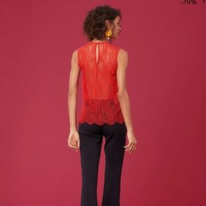 NEW $198 DVF Lace Back Coral Top